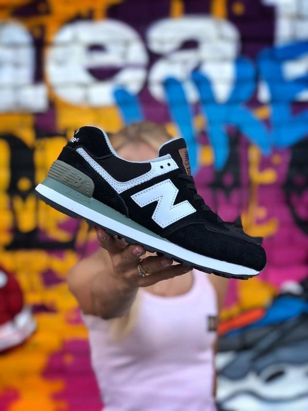 New balance 574 black white мужские демисезонные кроссовки чер...