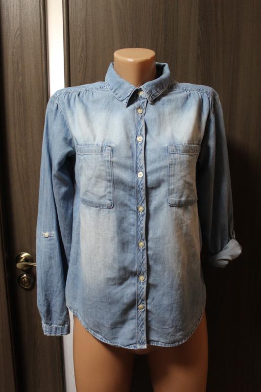 Джинсовая рубашка h&m в идеальном состоянии xxs-хs
