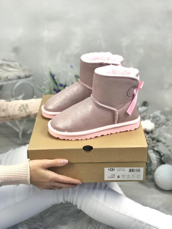 Ugg bailey bow mini pink натуральные женские угги сапоги с бан...