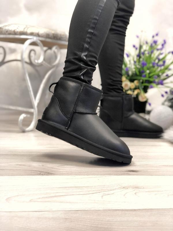 Ugg classic mini black leather натуральные женские угги сапоги...
