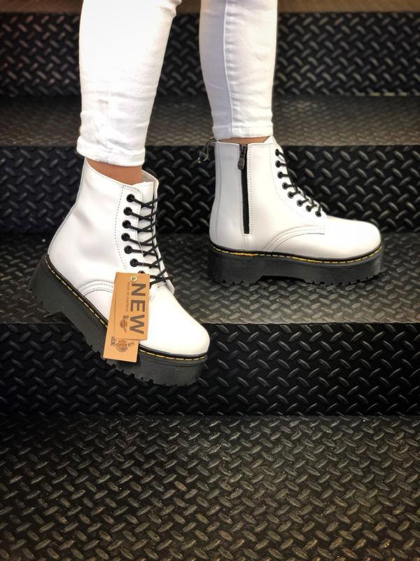 Dr. martens jadon white fur женские зимние ботинки мартинс бел...