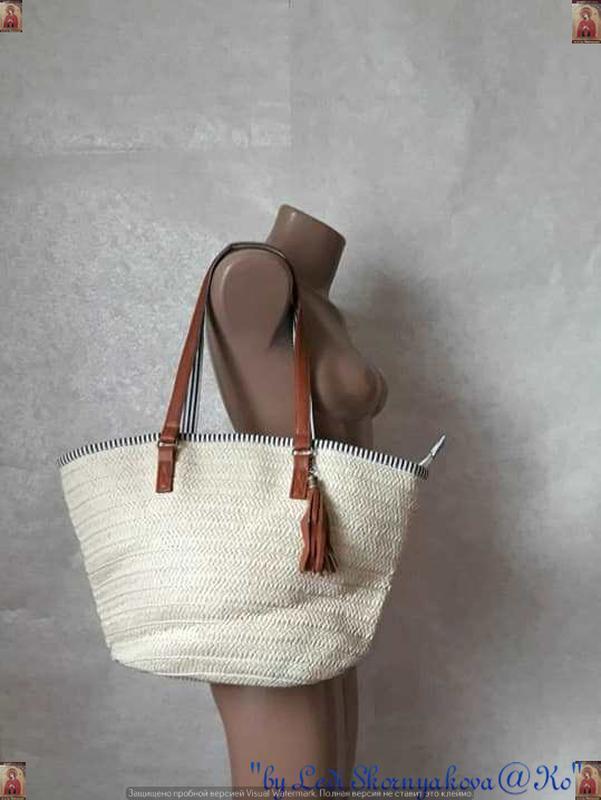 Новая шикарная соломенная сумка-шопер в цвете беж с подкладкой...