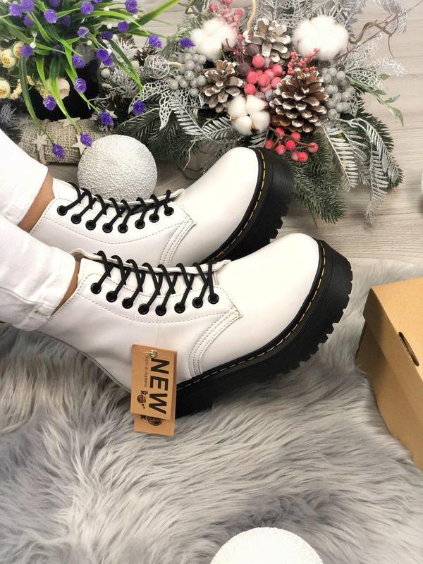 Женские зимние ботинки/ сапоги dr. martens jadon white black f...
