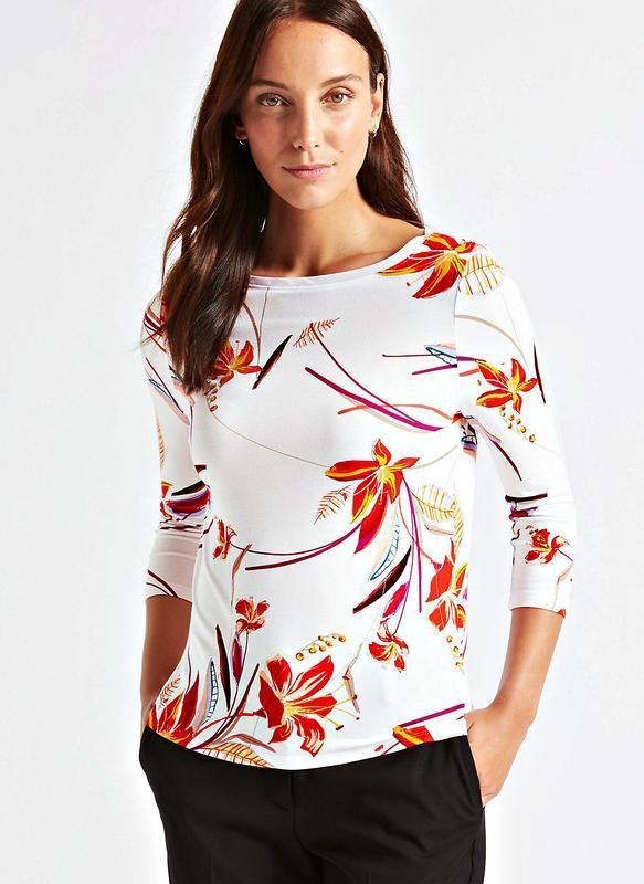 Мягкая цветочная блуза с рукавом 3/4 из эластичной вискозы р.20