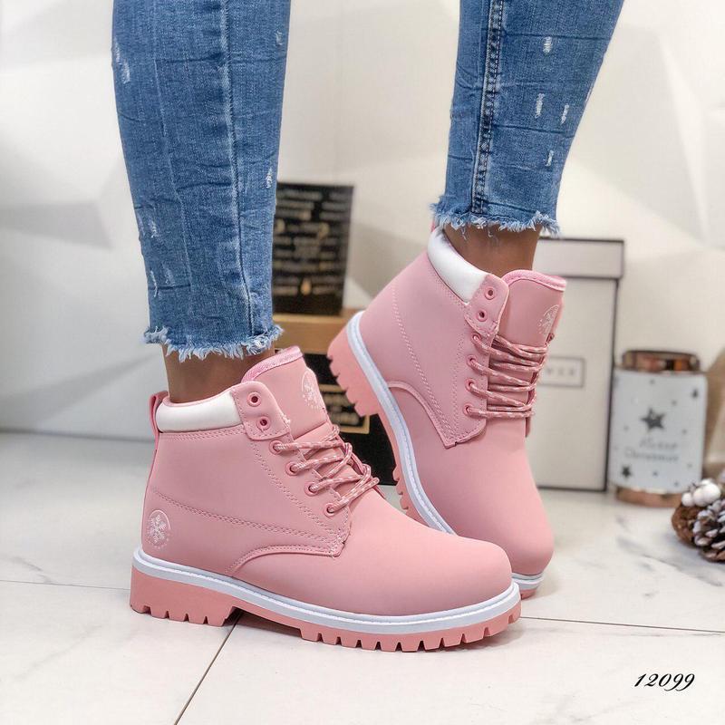 Женские зимние ботинки Timberland розовые