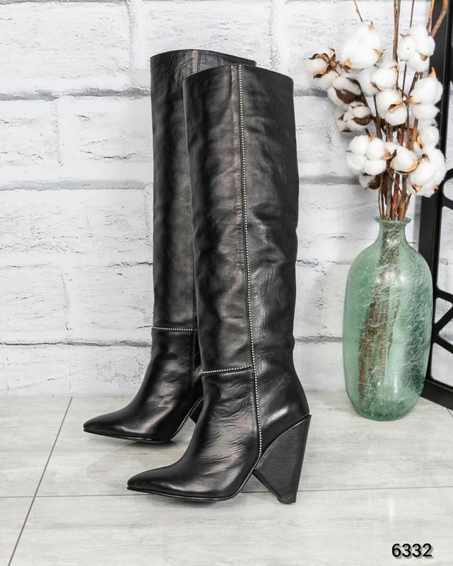 ❤ женские черные осенние демисезонные кожаные высокие сапоги  ...
