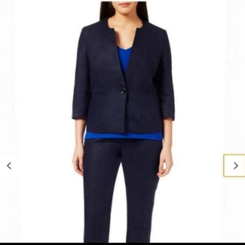 Синий льняной жакет пиджак