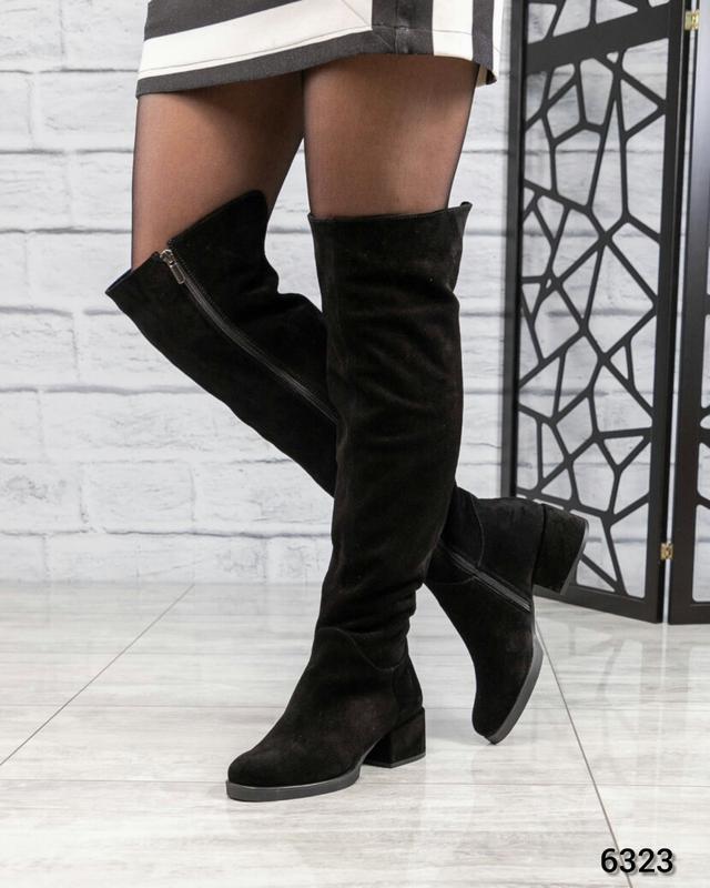❤ женские черные зимние замшевые высокие сапоги ботфорты полус...