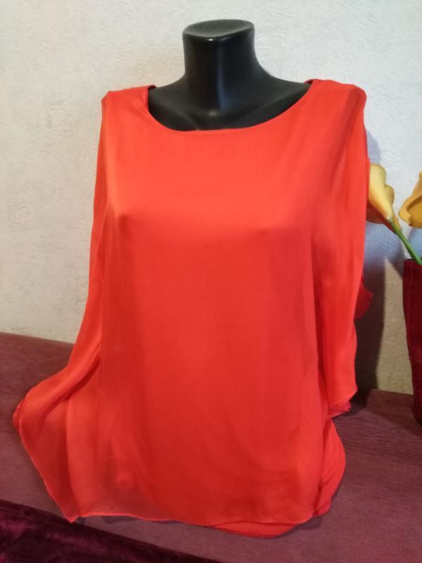 Натуральный шелк, нежная летящяя блузочка, красно-оранжевая, у...