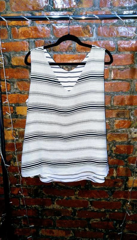 Свободная двухслойная блуза кофточка топ в полоску