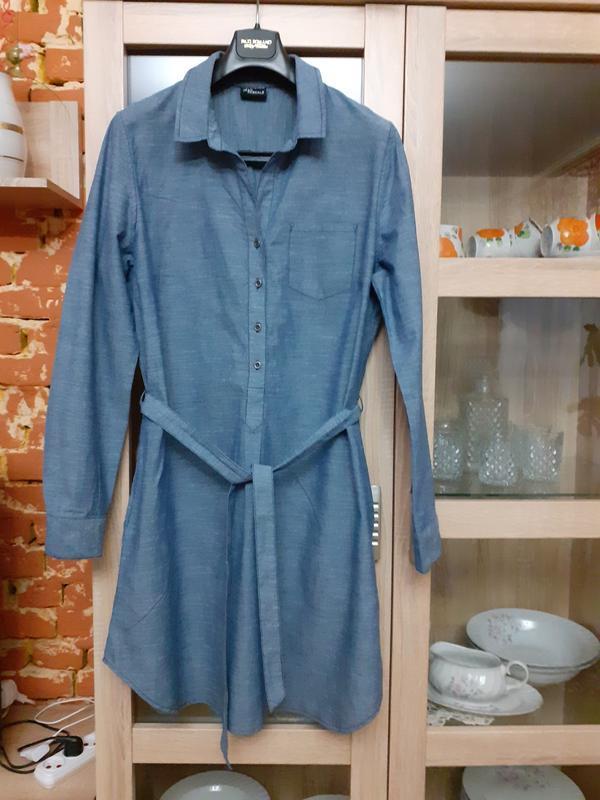 Крутое котоновое с карманами платье рубашка большого размера