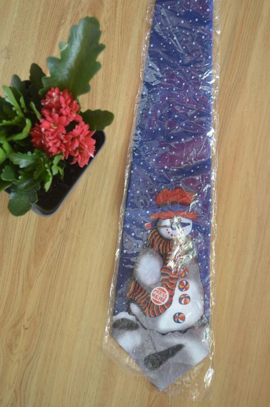 Галстук новогодний со снеговиком!