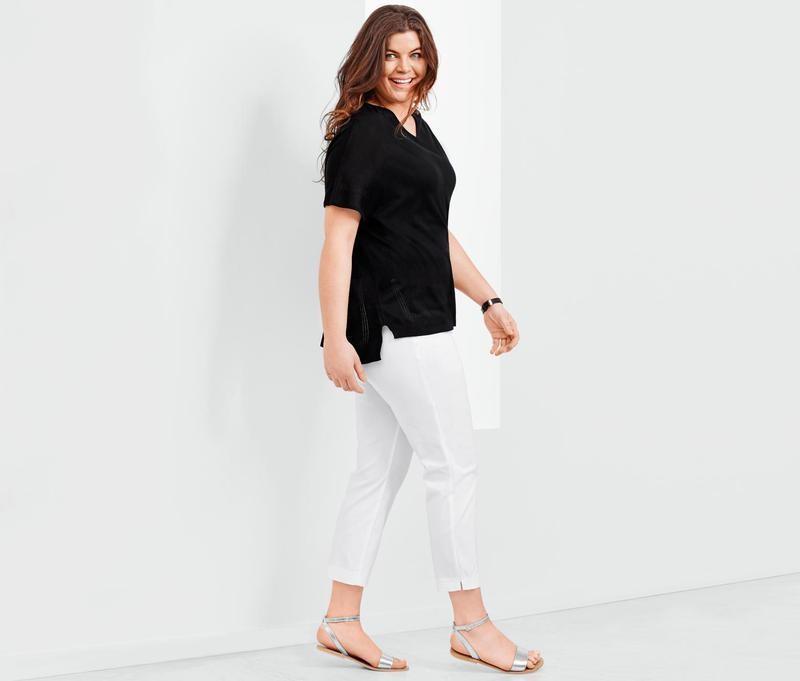 Стильные белые коттоновые брюки -высокая посадка!