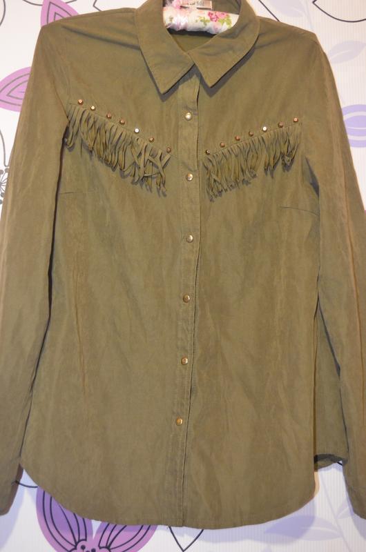 Раскошная рубашка с кистями размер м, цвет оливковый