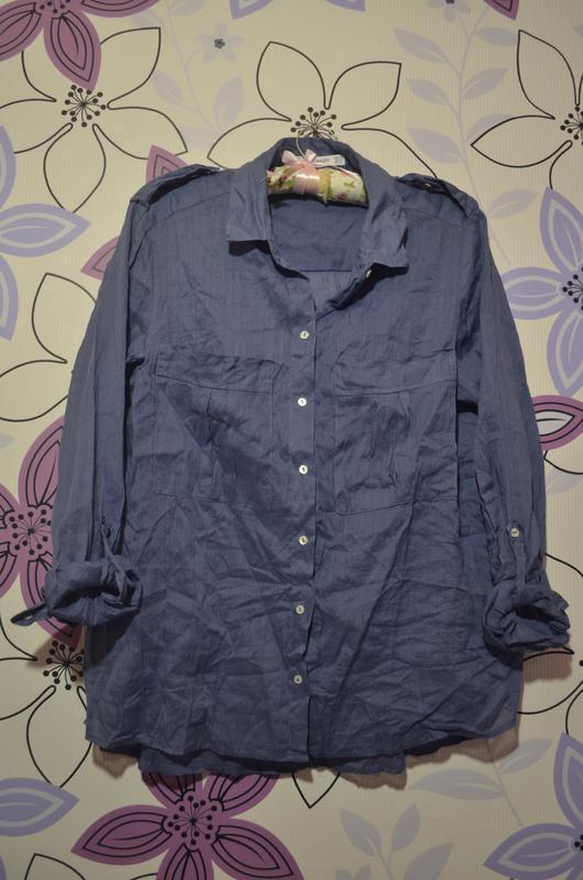 Хлопковая фирменная блуза рубашка от mango