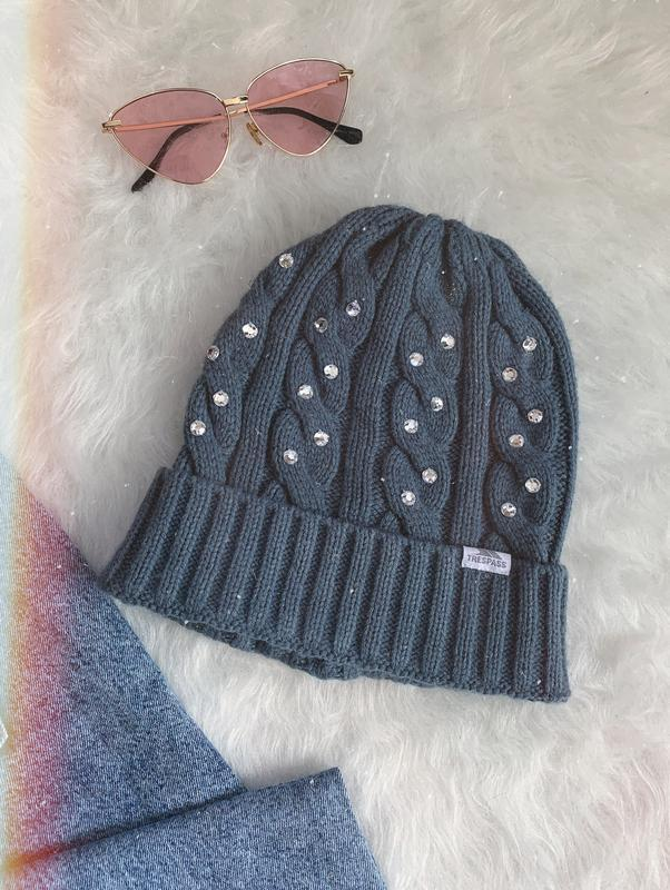 🌿 серая вязаная шапка