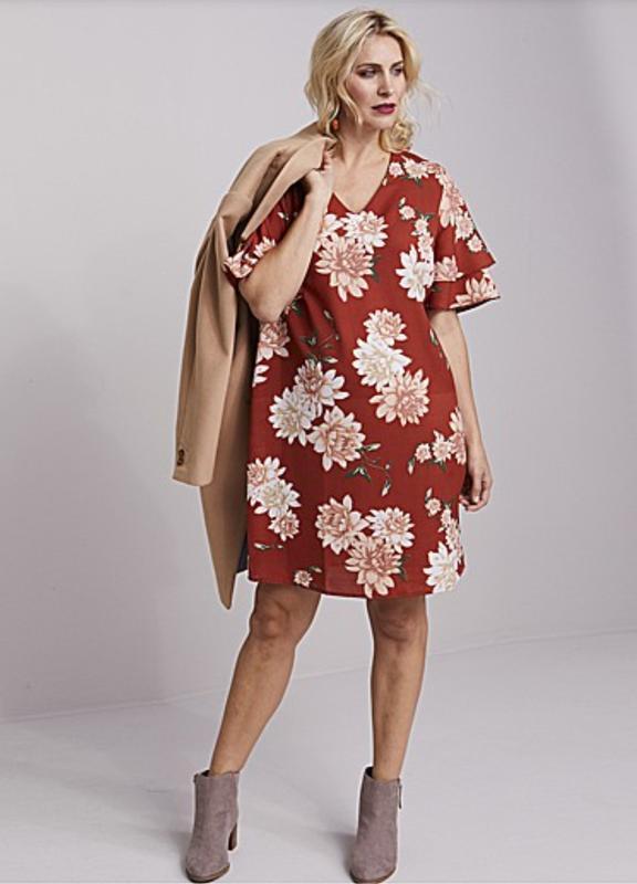 Легкое платье в принт рукав волан 32/62-66 размера