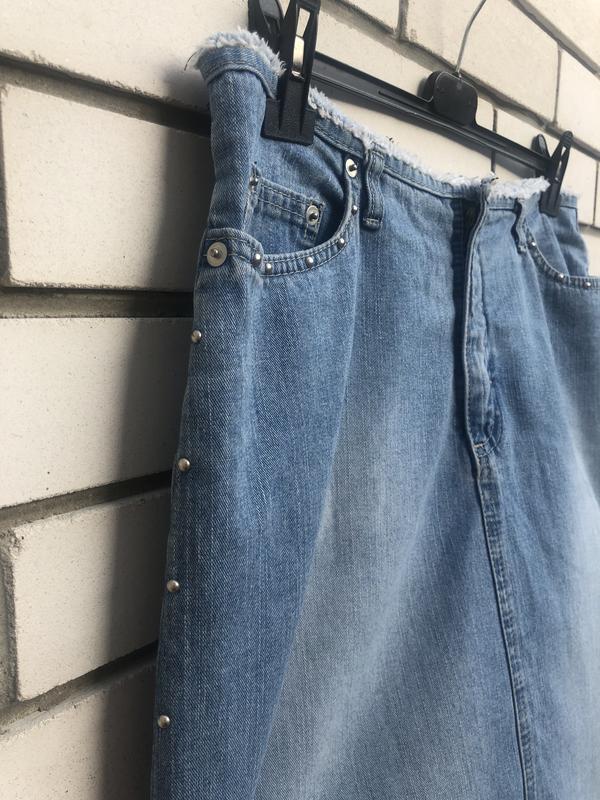 Джинсовая юбка с заклёпками  винтаж