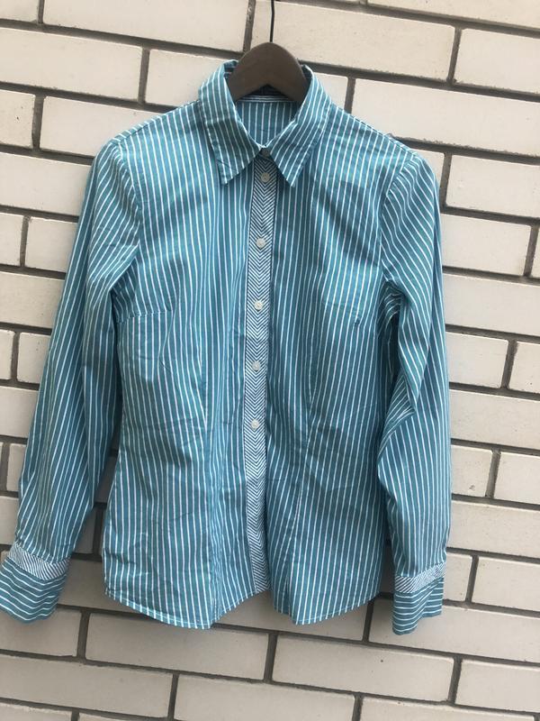Ментоловая  рубашка в полосочку