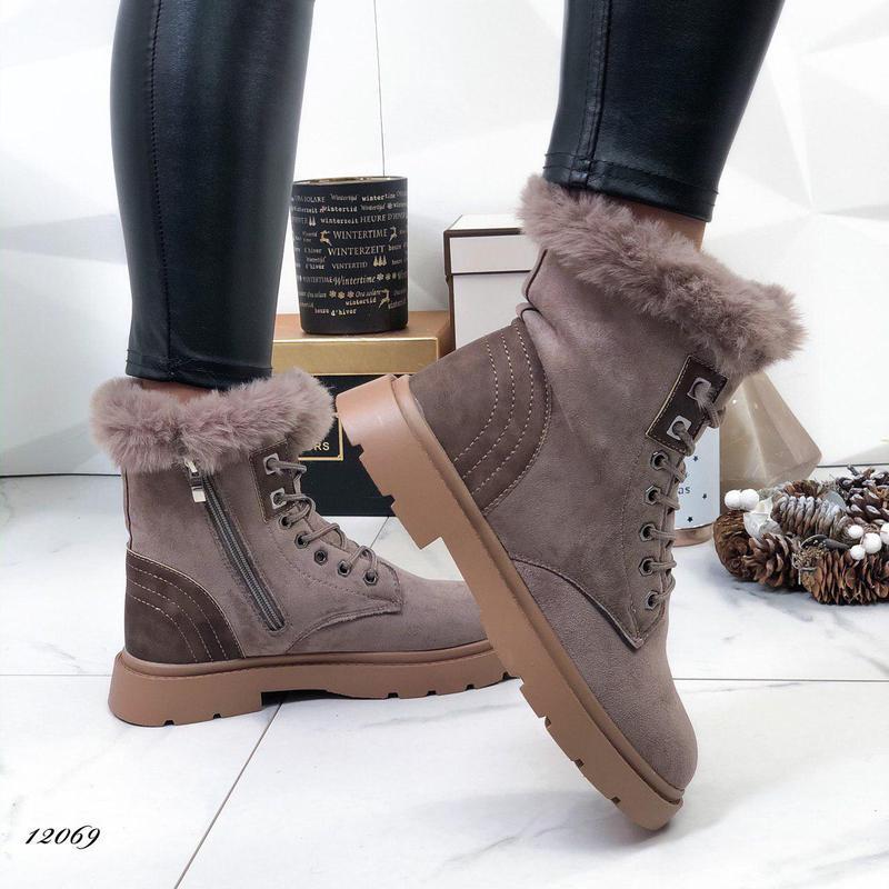 Женские замшевые зимние ботинки