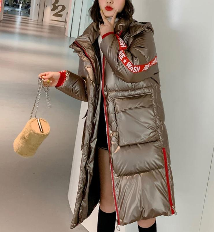 Куртка пуховик женская металлик с лампасами