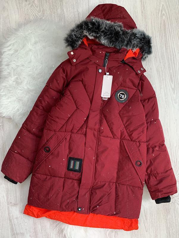 🌿 новое зимнее пальто | куртка | парка | пуховик бардовый