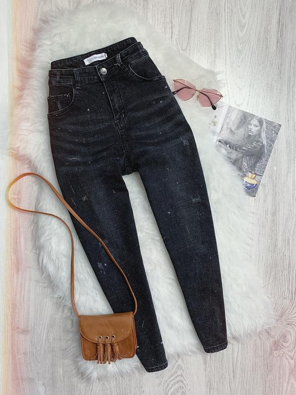 🌿 черные джинсы мом с высокой посадкой на флисе | бойфренд
