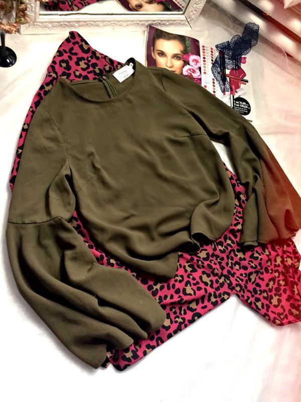 Блуза кольору хакі з розширеними рукавами