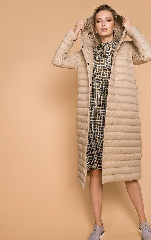 Куртка миди пуховик натуральный деми евро зима