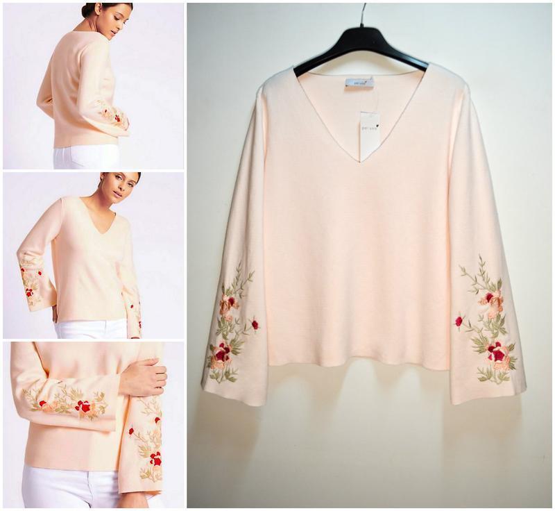 Мягкий нежный свитер с вышивкой цветы per una хлопок