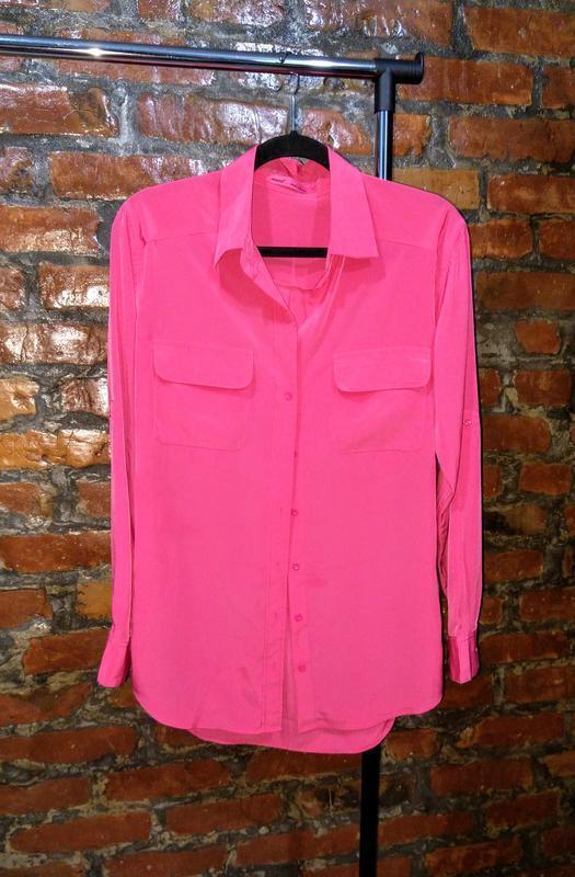 Рубашка блуза из мокрого шелка с отложным воротничком next