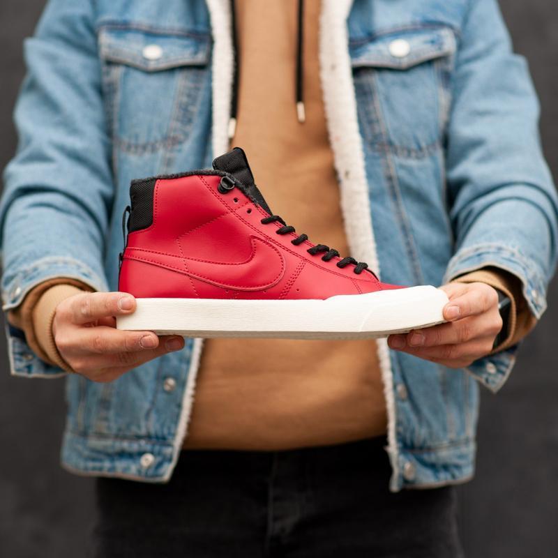 ✳️nike sb✳️мужские красные кожаные зимние кроссовки найк с мехом