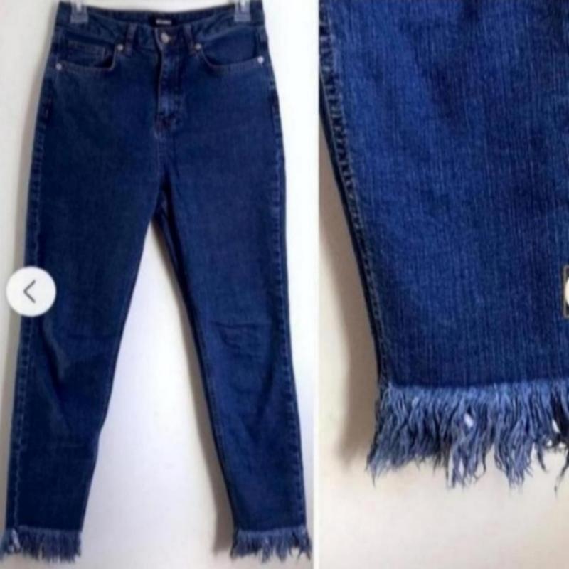 Синие джинсы с бахромой от missguided
