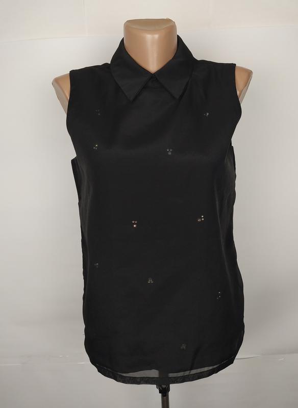 Блуза новая легкая стильная с паетками и шифоновая полочка uk ...
