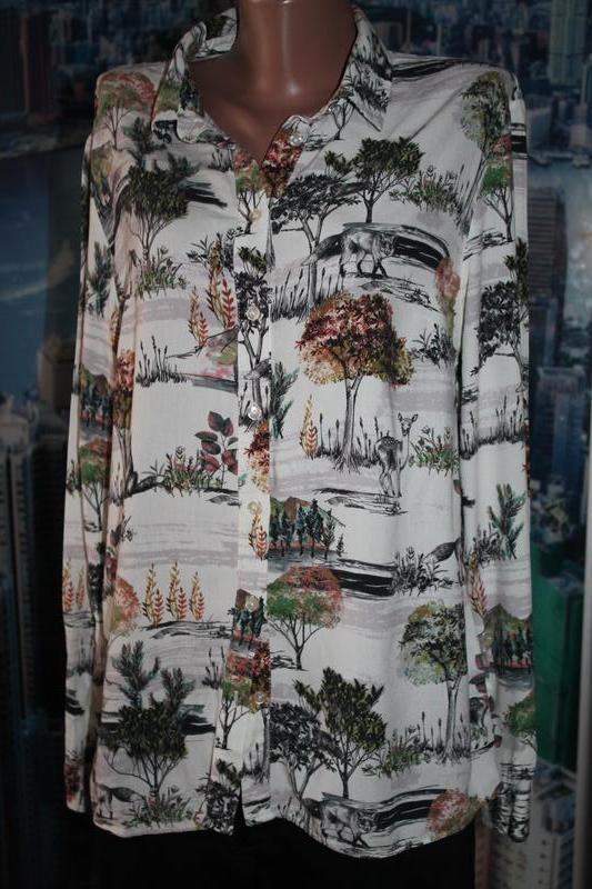 Натуральная блуза красивый принт
