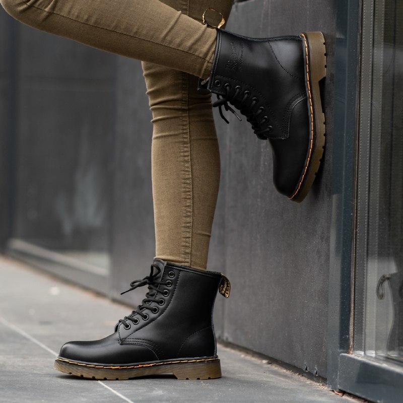 Шикарные женские зимние ботинки dr. martens 1460  black