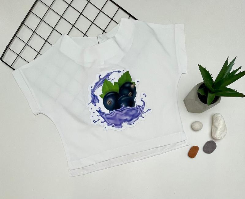 Белый топ, принт фрукты