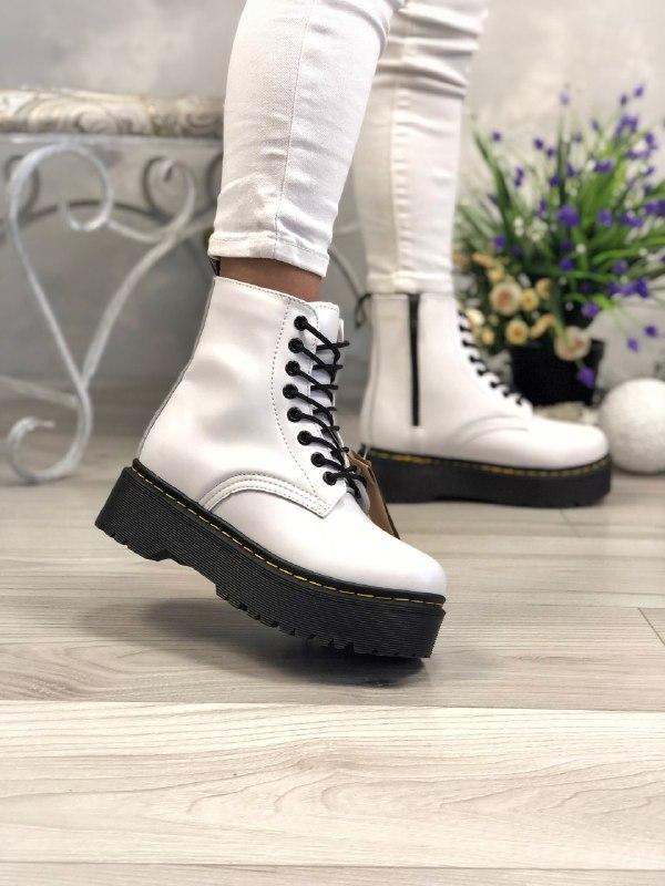 Шикарные женские зимние ботинки dr. martens jadon white/black