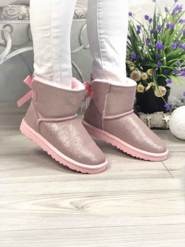 Шикарные женские угги ugg bailey bow mini pink