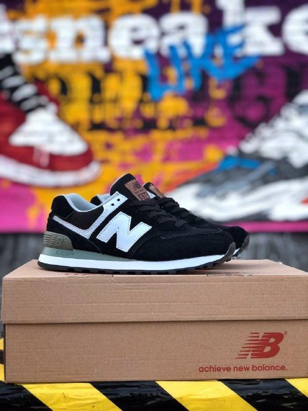Шикарные мужские кроссовки new balance 574 black/white