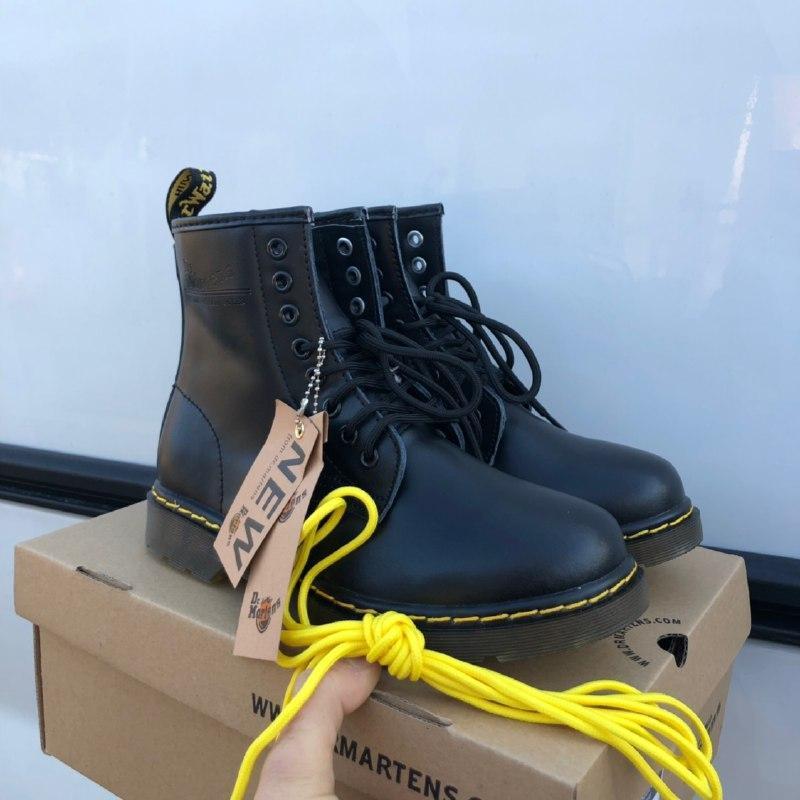 Шикарные женские зимние ботинки dr. martens 1460 black  (мех)
