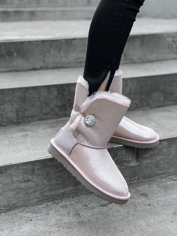 Шикарные женские угги ugg bailey button short pink