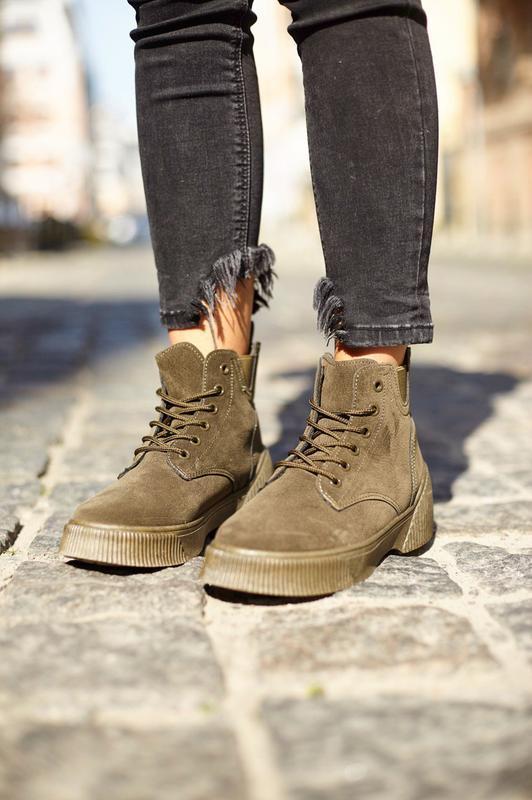 Ботинки хаки зеленые деми