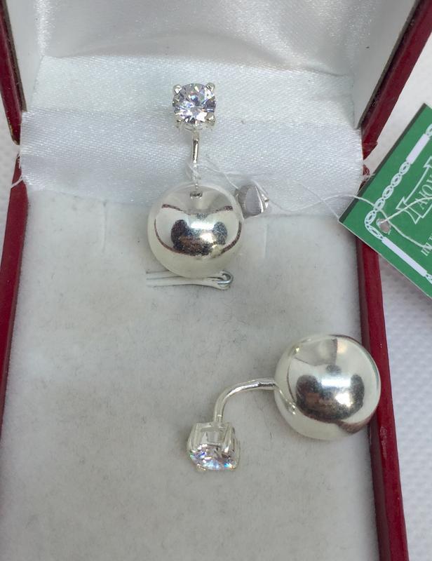 Новые серебряные серьги шарики куб.цирконий серебро 925 пробы