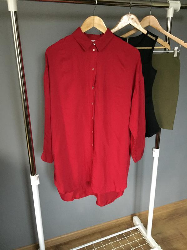 Длинная рубашка платье насыщенного красного цвета zara