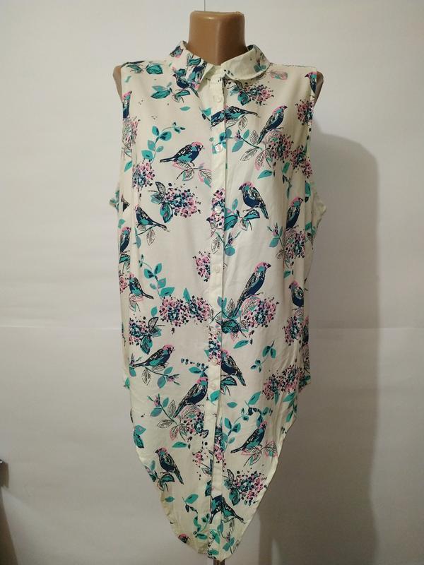 Блуза натуральная новая красивая в птички george uk 18/46/xxl