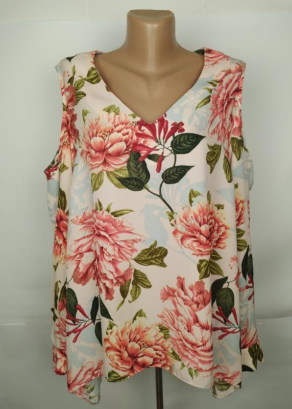 Блуза красивая цветочная шикарная большой размер george uk 18/...