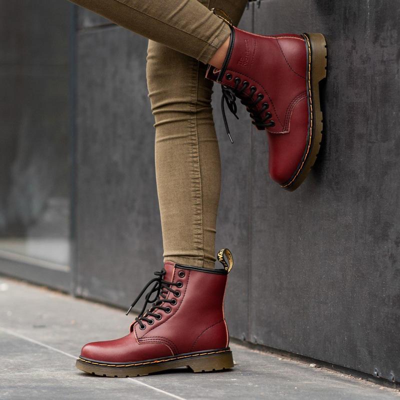 Шикарные женские зимние ботинки dr. martens 1460 bordo fur 😍 (...