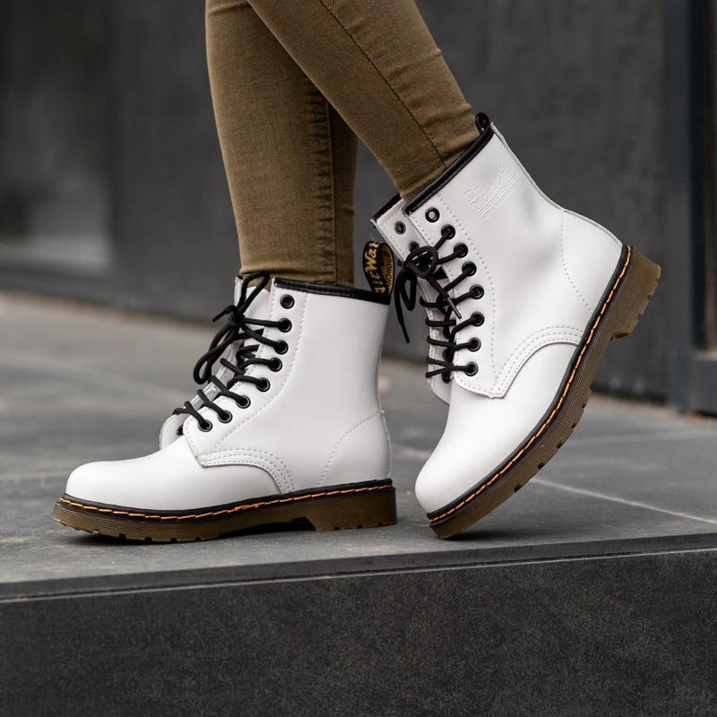 Шикарные женские осенние ботинки dr. martens 1460 white 😍 (без...