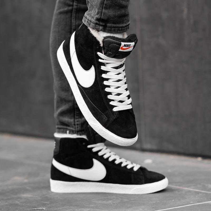 Nike blazer fur black white мужские зимние кроссовки с мехом ч...